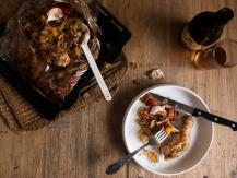עוף עם ארטישוק ירושלמי, עגבניות שרי ועשבי תיבול