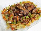 כבדי עוף עם צלי ירקות