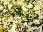 אורז עם פול, אפונה ירוקה ותרד