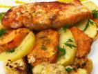 פילה סלמון אפוי בחרדל עם ירקות