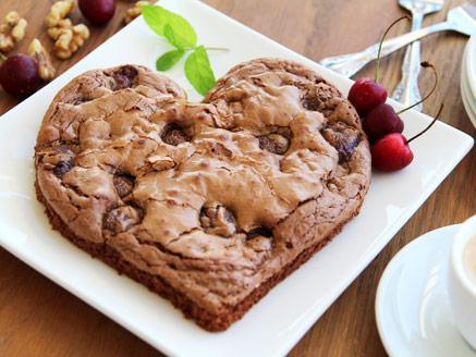 עוגת שוקולד בראוניז בצורת לב
