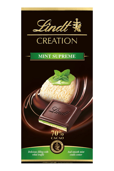 לינדט קריאשן מנטה - מעטפת שוקולד מריר 70% מוצקי קקאו במילוי טראפל לבן ומחית מנטה