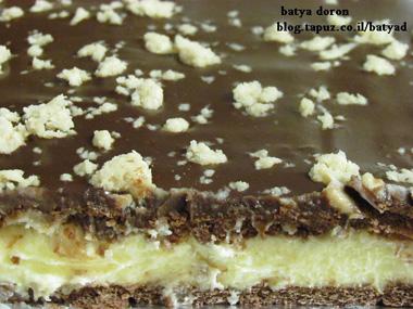 עוגת ביסקויטים, קצפת, שוקולד וחלבה