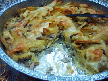 פשטידת פסטה, פטריות ובצל