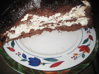 עוגת גבינות ושוקולד בצורת כדור