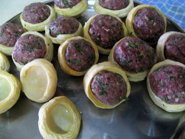 תחתיות ארטישוק ממולאות בשר