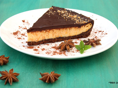 טארט גבינה עם דלעת בציפוי שוקולד