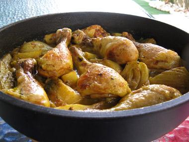 תבשיל שוקי עוף עם שומר