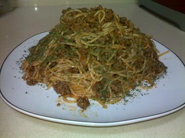 ספגטי בולונז עם יין אדום