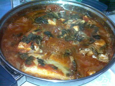 דגים ברוטב עגבניות עם נענע או כוסברה