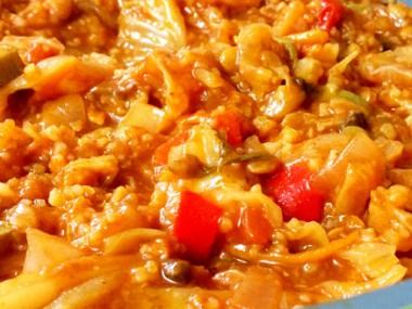תבשיל ירקות, אורז ועדשים