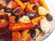 ירקות שורש אפויים ברוטב סויה וסילאן