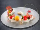 פנקוטה עם פירות וגלידת רום וצימוקים