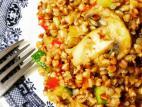 כוסמת עם ירקות בתיבול חוויאג`