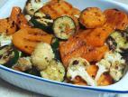 ירקות על מחבת פסים