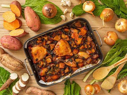 עוף אפוי בתנור ברוטב דבש, ג`ינג`ר וצ`ילי