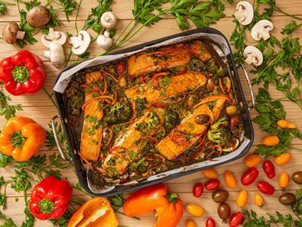 פילה סלמון בתנור ברוטב סילאן ותפוזים