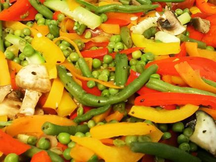 ירקות מוקפצים עם עוף