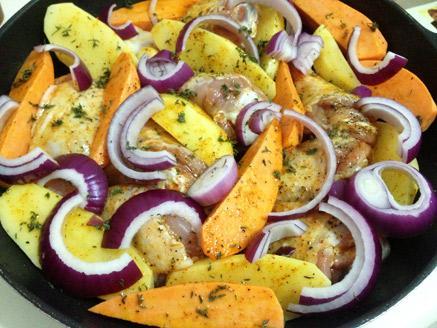 שוקי עוף וירקות בתנור ברוטב סויה ודבש
