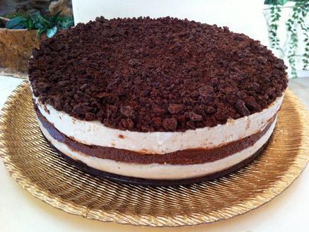 """עוגת """"גבינה"""" ושברי שוקולד רו-פוד"""
