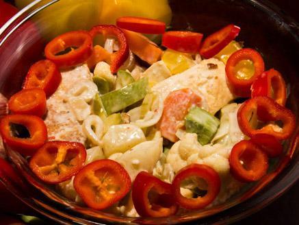 טופו עם ירקות מוקפצים וחלב קוקוס
