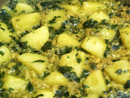 תבשיל תרד ותפוחי אדמה
