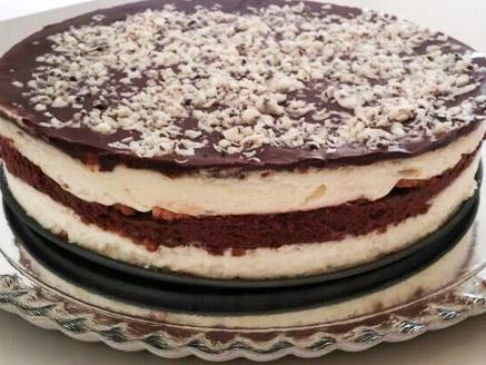 עוגת ביסקוויטים שכבות ללא אפייה