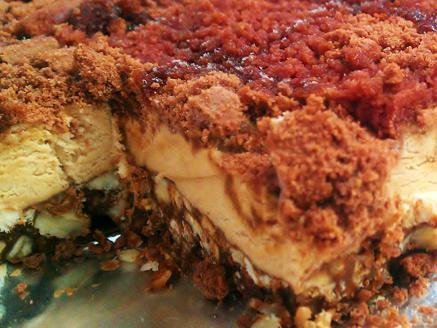 עוגת מוס נוגט וקראנץ` אגוזים עם ריפל קפה