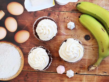קאפקייקס דבש, בננה ושוקולד ללא גלוטן