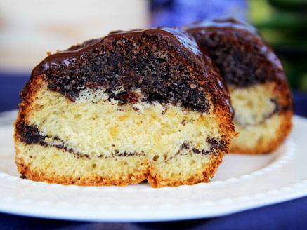עוגת תפוזים ופרג בציפוי גנאש שוקולד