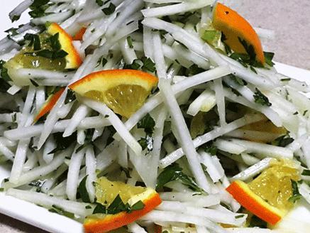 סלט קולורבי ותפוזים