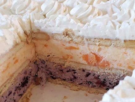 עוגת ביסקוויטים עם גלידת פירות